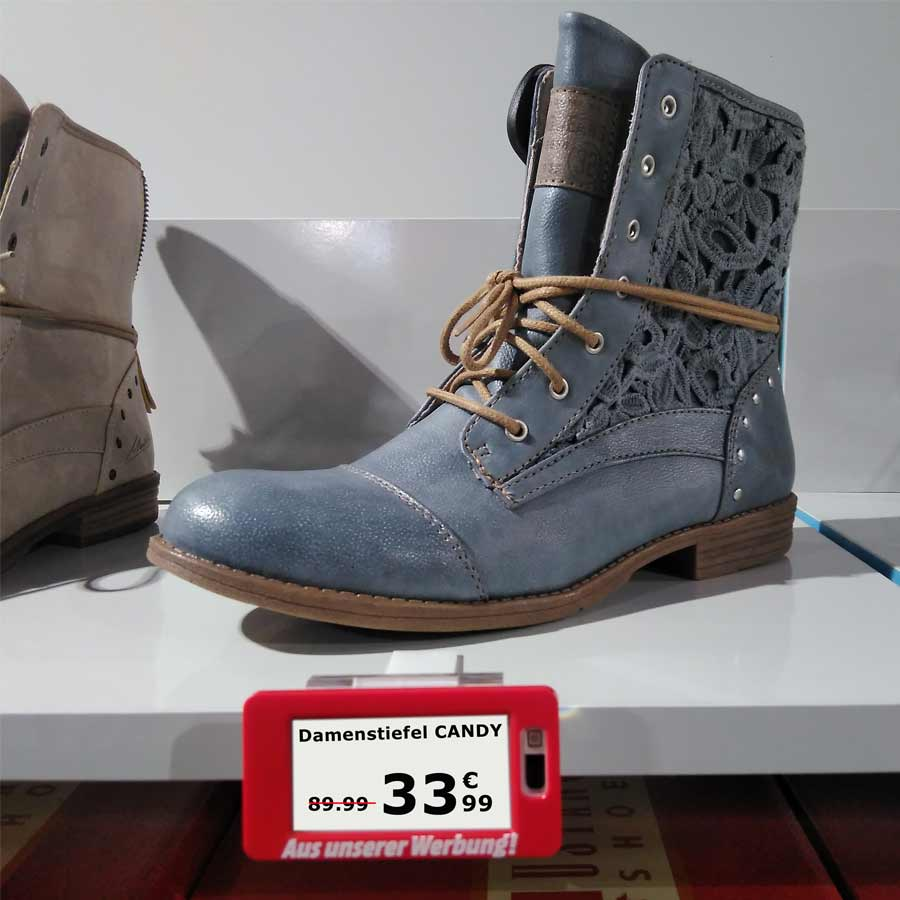 Electronic-Shelf-Label (ESL) im Schuhhandel